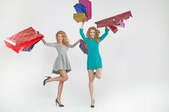 2 прелестных женщины с хозяйственными сумками Стоковое Изображение