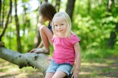 2 прелестных маленьких сестры в лесе Стоковые Фотографии RF