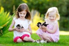 2 прелестных маленьких сестры играя с малыми newborn котятами Стоковое Изображение