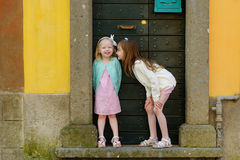 2 прелестных маленьких сестры имея потеху совместно Стоковое фото RF
