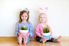 2 прелестных маленьких сестры нося уши зайчика на пасхе Стоковая Фотография
