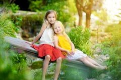 2 прелестных маленьких сестры смеясь над и обнимая на летний день в парке Стоковая Фотография RF