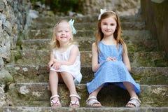 2 прелестных маленьких сестры смеясь над и обнимая одином другого на теплый и солнечный летний день Стоковое Изображение RF
