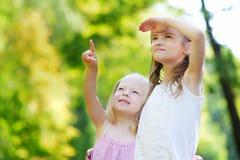 2 прелестных маленьких сестры указывая на самолет на небе Стоковые Фотографии RF