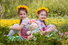 2 прелестных маленькой девочки играя на луге Стоковое Изображение RF