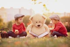 2 прелестных мальчика с его другом плюшевого медвежонка в парке Стоковая Фотография