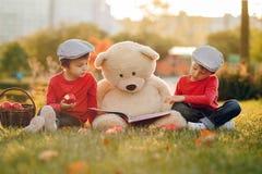 2 прелестных мальчика с его другом плюшевого медвежонка в парке Стоковые Изображения
