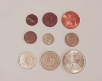 Пре-десятичные монетки GBP Стоковые Изображения RF