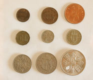 Пре-десятичные монетки GBP Стоковые Фотографии RF