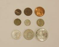 Пре-десятичные монетки GBP Стоковое фото RF