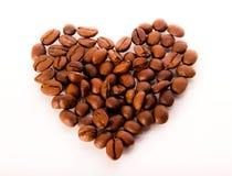 предмет кофе фасолей изолированный сердцем Стоковое фото RF