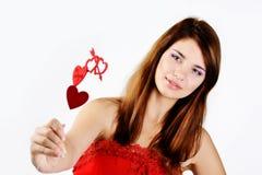 Предназначенная для подростков девушка в влюбленности Стоковые Изображения