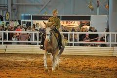 Предназначенная для подростков девушка в форме Второй Мировой Войны на лошади Стоковые Изображения
