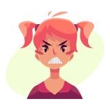 Предназначенная для подростков сторона девушки, сердитое выражение лица иллюстрация штока
