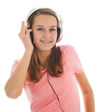Предназначенная для подростков девушка с головными телефонами Стоковое Изображение