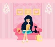 Предназначенная для подростков девушка читая книгу Стоковое Изображение