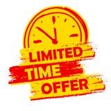 Предложение ограниченного времени с ярлыком знака часов, желтых и красным цветом нарисованного бесплатная иллюстрация
