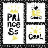 3 предложения на предпосылке звезд и спиралей Принцесса хороший холодно бесплатная иллюстрация