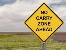 Предосторежение - никакое снесите зону вперед стоковое фото
