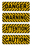 Предосторежение, предупреждение, внимание, стикеры текста опасности обозначает иллюстрацию вектора бесплатная иллюстрация