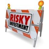 Предосторежение управления денежными средствами барьера предупредительного знака рискованого вклада Стоковые Фотографии RF