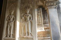 Предохранитель статуй Angkor Wat Стоковая Фотография RF