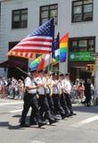 Предохранитель цвета Управления полиции Нью-Йорка во время на гей-парада LGBT в Нью-Йорке Стоковая Фотография