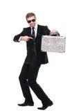 Предохранитель Securuty указывая его палец к чемодану металла Стоковые Изображения RF