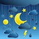 Предпосылка вектора с иконой погоды ночи Стоковое фото RF