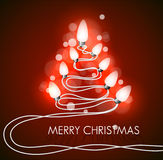 Предпосылка вектора с рождественской елкой и светами Стоковые Фото