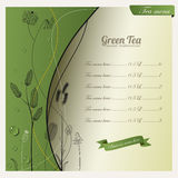 Предпосылка зеленого чая и конструкция меню Стоковое Изображение