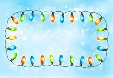 Предпосылка праздника с цветастой гирляндой Стоковые Фото