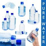 предпосылка разливает белизну по бутылкам воды коллажа Стоковое Изображение RF