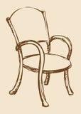 предпосылка рисуя флористический вектор травы Деревянный стул с подлокотниками Стоковое Фото