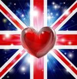 Предпосылка сердца флага Великобритании влюбленности Стоковые Изображения RF