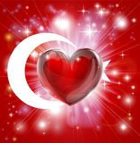 Предпосылка сердца флага Турции влюбленности Стоковое Изображение RF