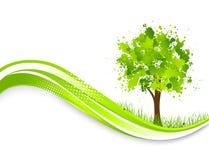 Предпосылка с абстрактным зеленым деревом Стоковые Изображения RF