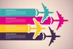 Предпосылка с цветастыми самолетами Стоковая Фотография RF