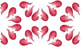 Предпосылка 5 картины плитки сломленного сердца безшовная Стоковые Изображения RF