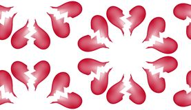 Предпосылка 7 картины плитки сломленного сердца безшовная Стоковые Изображения