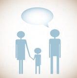 Предпосылка Grunge с семьей и говорит пузырь Стоковая Фотография
