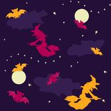 Предпосылка Halloween ведьм и летучих мышей безшовная Стоковое Изображение