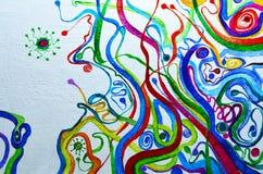 предпосылка абстрактного искусства Картина маслом на холстине Пестротканая яркая текстура Часть художественного произведения Стоковое фото RF