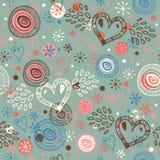 Предпосылка абстрактного doodle безшовная с картиной scribble сердец бесконечной Стоковая Фотография