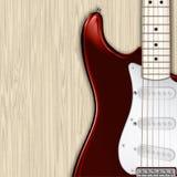 Предпосылка абстрактного grunge деревянная с электрической гитарой Стоковое Фото