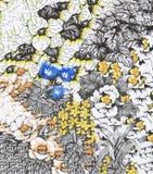 Предпосылка акварели абстрактная флористическая с красочными красивыми цветками Стоковое Изображение RF