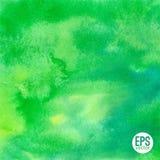Предпосылка акварели вектора зеленой абстрактной нарисованная рукой Стоковые Фотографии RF