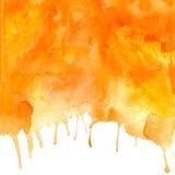 Предпосылка акварели вектора оранжевой абстрактной нарисованная рукой Стоковая Фотография RF