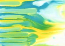 Предпосылка акварели желтого зеленого цвета голубая белая Стоковые Изображения