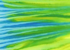 Предпосылка акварели желтого зеленого цвета голубая Стоковые Фотографии RF